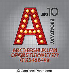 broadway, números, rojo, alfabeto