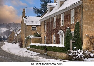 broadway, nieve, cotswolds