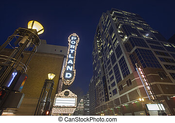 Broadway Portland Oregon Downtown Entertainment District at Evening Blue Hour with Blank Marquee Sign