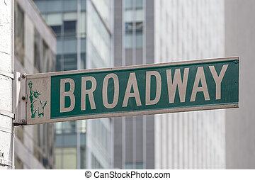 broadway, roadsign