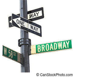 Broadway sign in Manhattan New York isolated against white