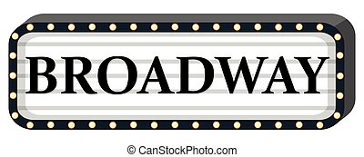 Broadway sign on white background
