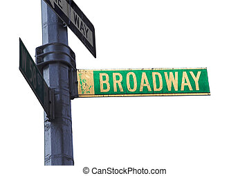 Broadway Sign - Broadway sign in New York isolated with...