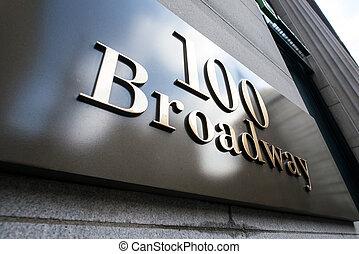 broadway, straßenschild, in, new york