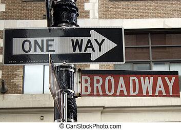 broadway, straßenschild, in, noho