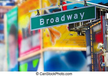 broadway, straat, meldingsbord