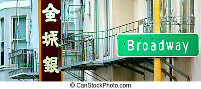 Broadway street sign in Chinatown in San Francisco CA