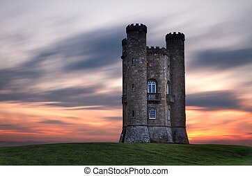 Broadway Tower at dusk, Cotswolds, UK