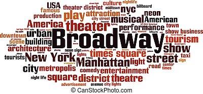Broadway word cloud concept. Vector illustration