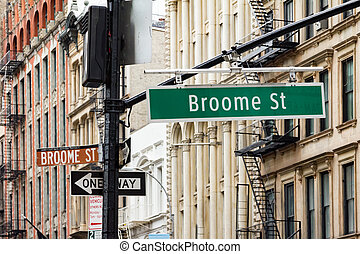 broadway, y, broome, calle, en, soho, manhattan, ciudad nueva york