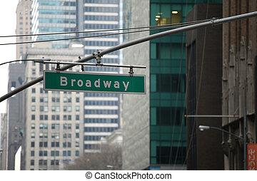 broadway, zeichen, in, manhattan, new york, vor, gebäude