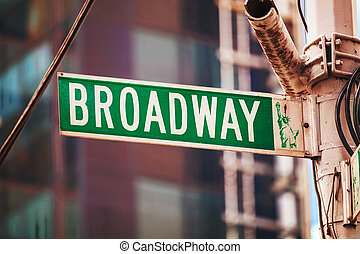 broadway, zeichen, in, new york city, usa