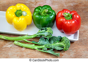 broccoli and bell pepper fresh green red and yellow