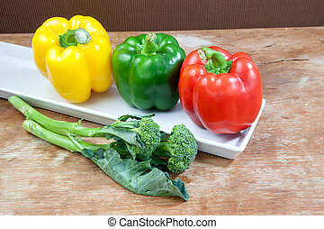 broccoli and bell pepper fresh yellow red and green
