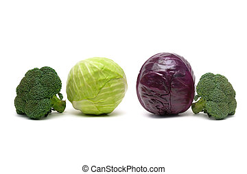 broccoli and other cabbage isolated on white background.