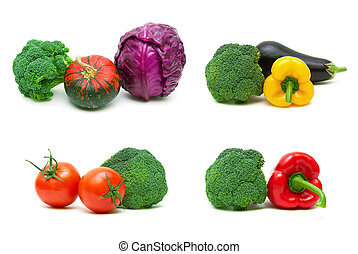 Broccoli and other vegetables isolated on white background
