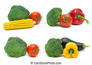broccoli and other vegetables on a white background.