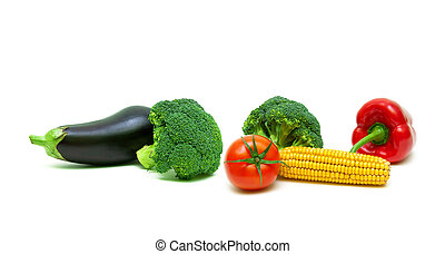 broccoli and other vegetables on a white background
