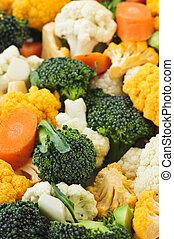 broccoli, blomkål, og, gulerøder