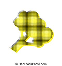 Broccoli branch sign. Vector. Yellow icon with square pattern du