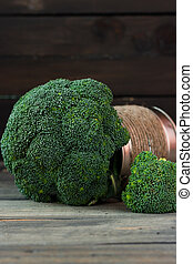 Broccoli cabbage on a wooden rustic background