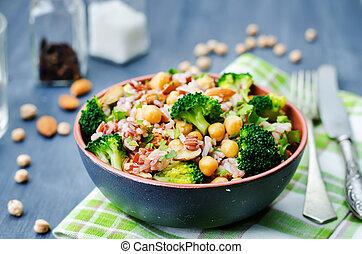 broccoli chickpea cilantro almond white and red rice....