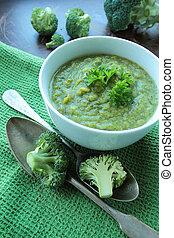 Broccoli cream soup with fresh parsley