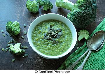 Broccoli cream soup with pumpkin seeds
