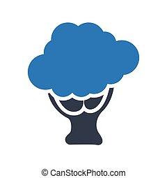 broccoli glyph color vector icon