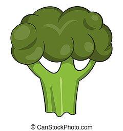 Broccoli icon, cartoon style