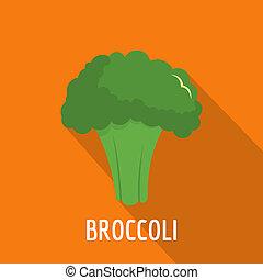 Broccoli icon, flat style.