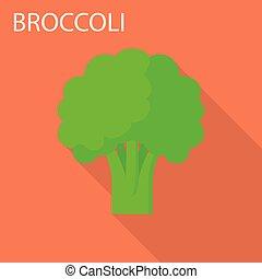Broccoli icon, flat style