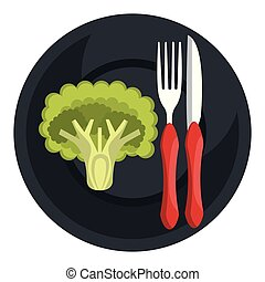 broccoli in dish with fork and knife