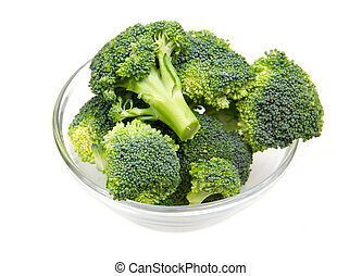 Broccoli in glass bowl on white background