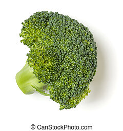 Broccoli isolated on white background. Top view, flat lay.