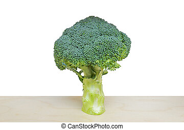 broccoli isolated on wood table with white background