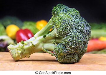 Broccoli on chopping board