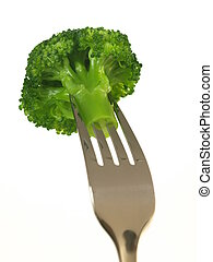 Broccoli on fork, isolated