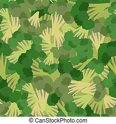 Broccoli pattern. Seamless background with green broccoli. Vector texture
