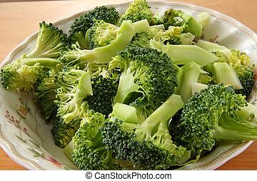 Broccoli pieces - Fresh raw sliced broccoli pieces closeup...