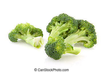 Broccoli - Pieces of fresh raw broccoli isolated over white
