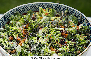 broccoli salad in a bowl, close up, low carb diet