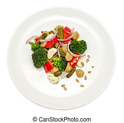 Broccoli salad with bell peppers in plate
