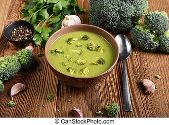 Broccoli soup - Tasty broccoli soup on wooden background