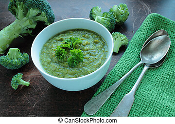Broccoli soup with fresh parsley herbs