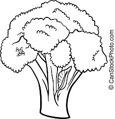 broccoli vegetable cartoon for coloring book - Black and...