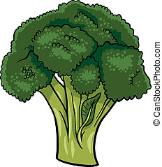 broccoli vegetable cartoon illustration - Cartoon...
