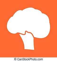 Broccoli white color icon .