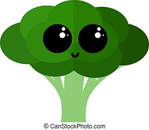 Broccoli with eyes, illustration, vector on white background.
