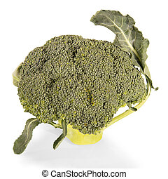 Broccoli with leaves close-up isolated on white.